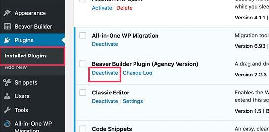 deactivate plugin