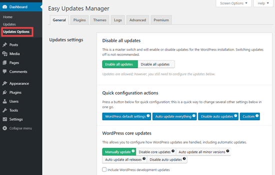 easy updates manager plugin settings netking